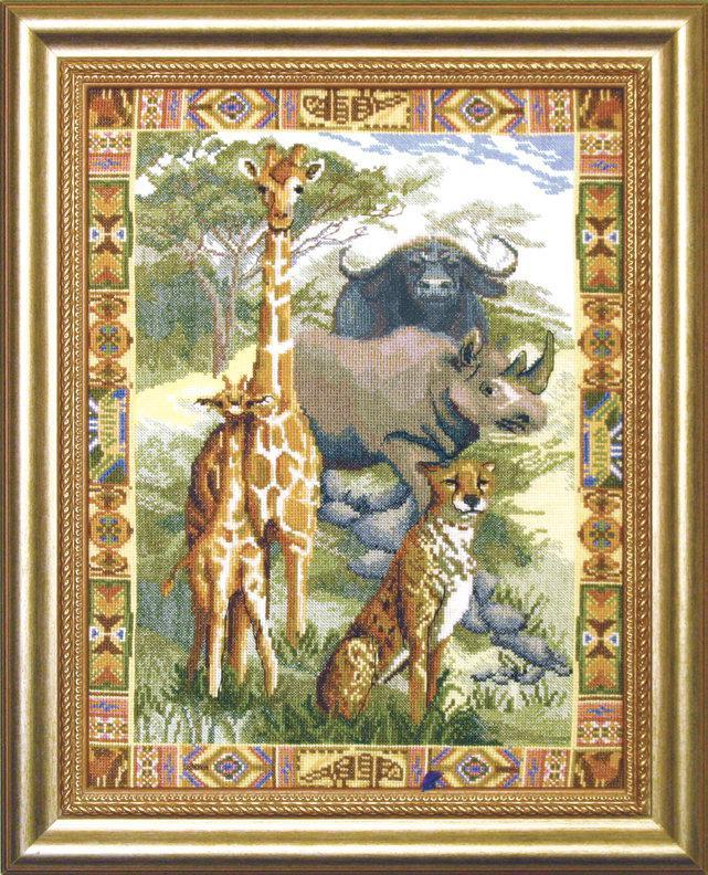 Вышивка с африканскими животными 62